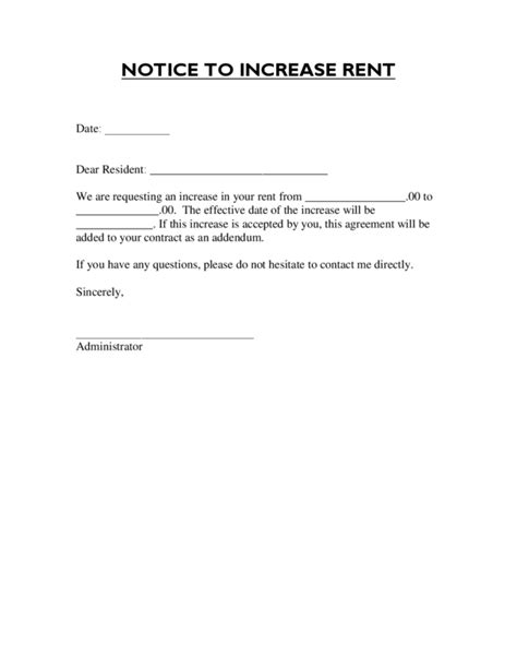 Rental Lease Increase Letter Rent Increase Letter 1 Legalforms Org