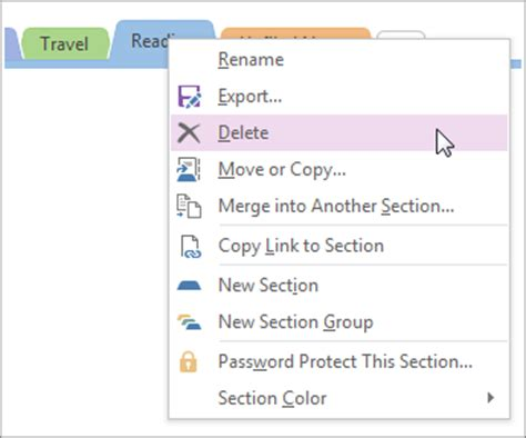 how to get section 8 immediately delete a section from onenote 2016 for windows onenote