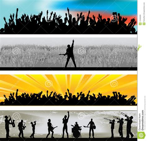 printable music banner music web banners stock vector illustration of cheering