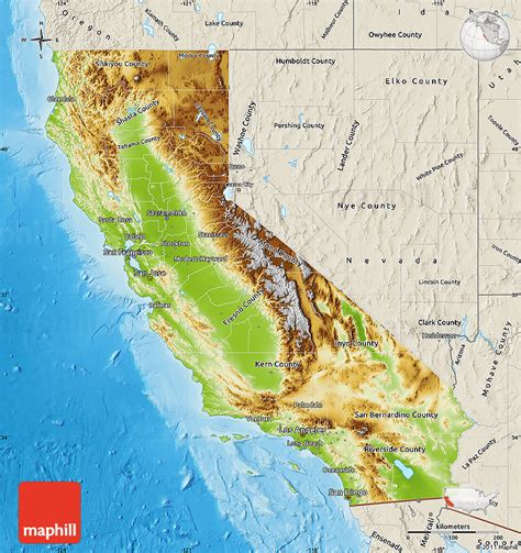 california map geographical physical map of california shaded relief outside