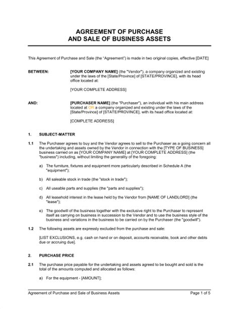 purchase and sale agreement template agreement of purchase and sale of business assets