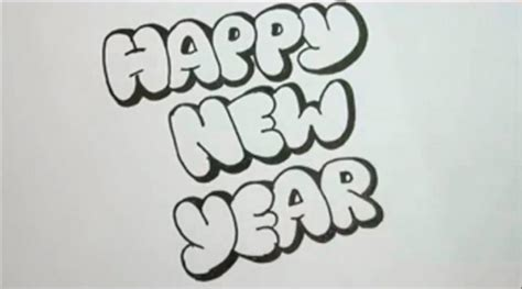 how to draw new year how to draw the word happy new year with a pencil step by step