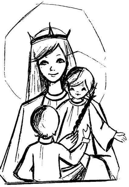 imagenes de la virgen maria faciles dibujos para colorear