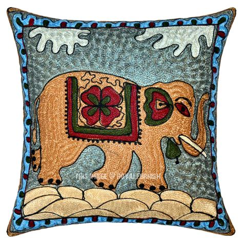 Decorative Elephant Pillows by 16 Quot Cotton Multicolored Decorative Embroidered Elephant