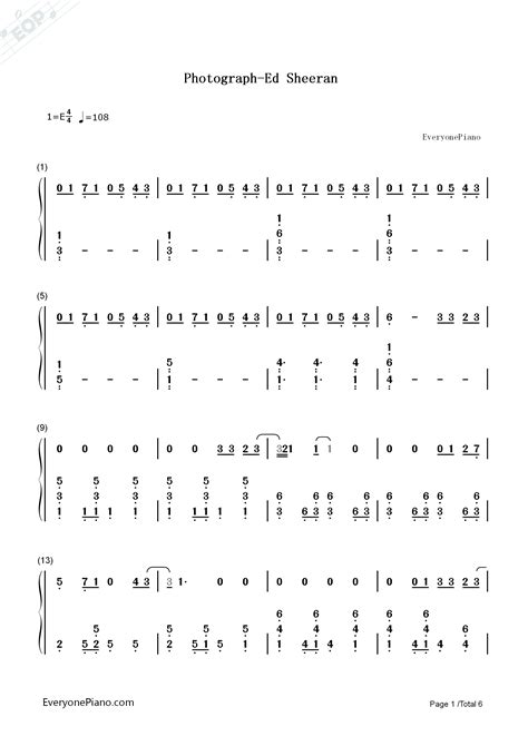 Photograph-Ed Sheeran Numbered Musical Notation Preview