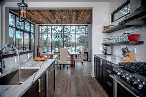 Black Kitchen Cabinets Hickory Wood Floors   Contemporary