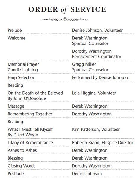 memorial order of service template memorial service order of