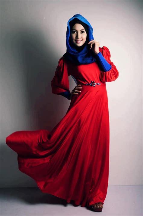 Dress Sansan Pink Dan Merah koleksi baju muslim 2016 yang modis untuk wanita muda