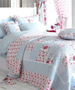 Patchwork Bedding Sets With Curtains Blue Floral Cotton Patchwork Quilted Bedspread Or