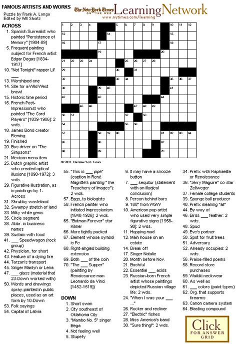 printable art crossword puzzles crosswords famous artists and works