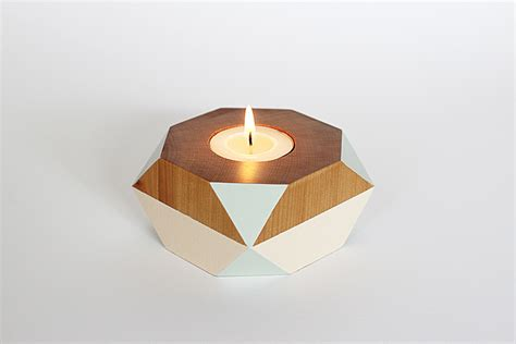 Home Interior Candle Holders Geometric Wooden Candle Holder Felt