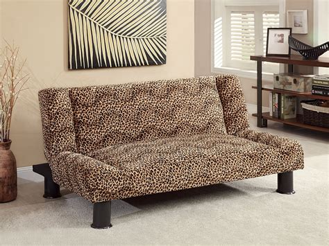 leopard print fabric adjustable futon sofa