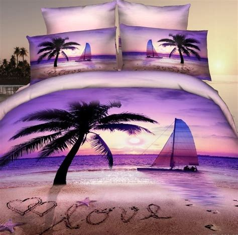 Palm Tree Bed Set Aliexpress Buy 3d Purple Palm Tree Bedding Set For Size Duvet Quilt
