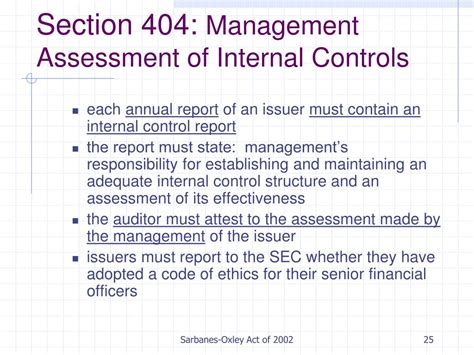 sarbanes oxley act section 404 ppt sarbanes oxley act of 2002 powerpoint presentation
