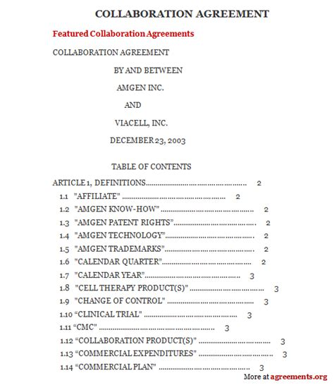 collaboration agreement template 28 images