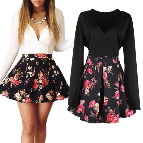 aliexpress dresses casual flower print mini dress women sexy skater dresses