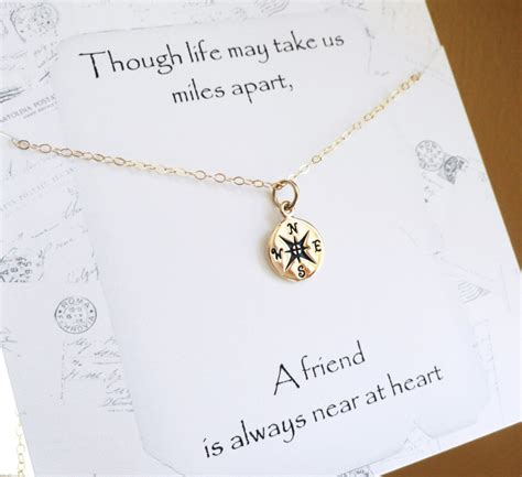 compass necklace friendship necklace with message by