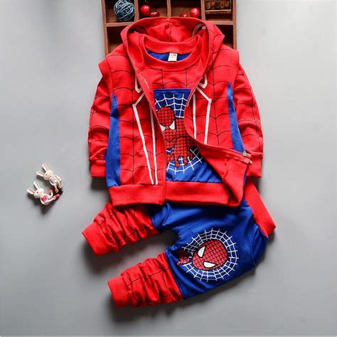 Set Polo Spider Kid 2017 new autumn baby boys spider suits infant newborn clothes sets vest t shirt 3
