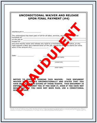 Lien Release Letter Bank Of America fraudulent lien waiver release forms