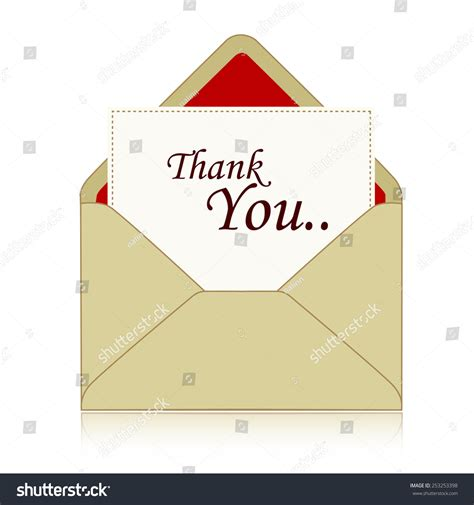 Thank You Letter Envelope thank you note inside envelope isolated stock vector