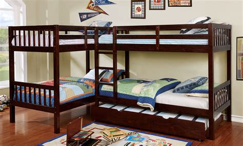 quadruple bunk bed marquette l shaped quadruple dark walnut finish twin bunk