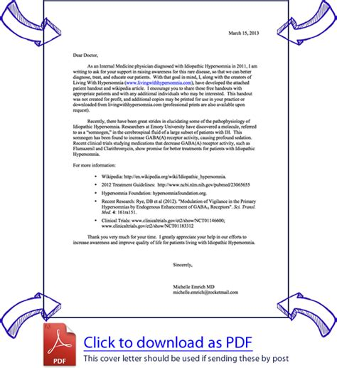 Patient Letters To Nurses Resources For Patients With Idiopathic Hypersomnia