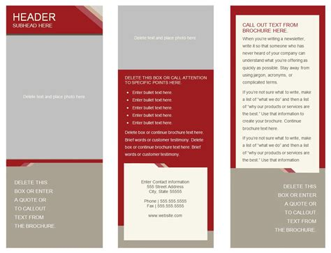 printable brochure template 6 best images of free printable brochure templates