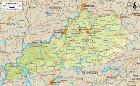 physical map of kentucky physical map of kentucky ezilon maps