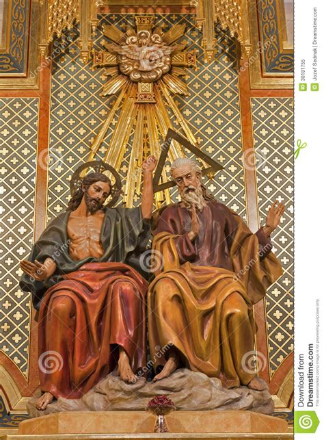 madrid statue of holy trinity from side altar of