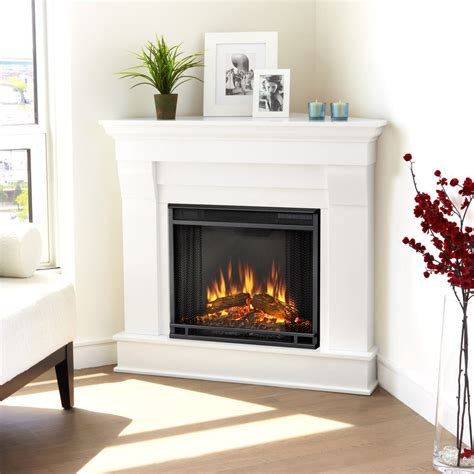 White Electric Fireplace Lowes by Shop Real 40 9 In W 4780 Btu White Wood Corner Led