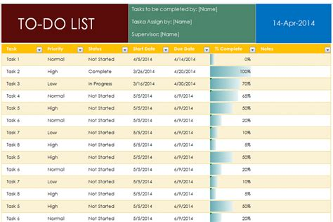 excel priority list template to do list template with completion percentage dotxes