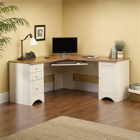 Furniture L Shaped White Wooden Corner Desk With Hutch White Wood Corner Desk