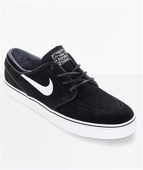 nike sb zoom stefan janoski og black white skate shoes