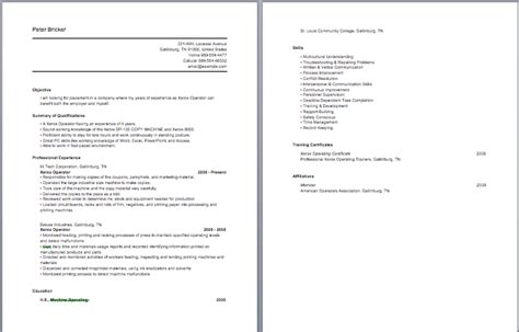 Sle Resume For Construction Equipment Operator sle resume for construction equipment operator 28 images