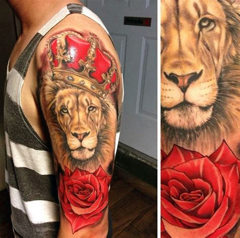 lion with a crown tattoo 67 most powerful crown tattoos for