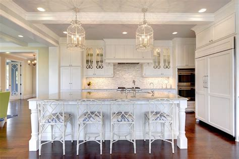 Kitchen Island Chandelier Lighting by White Bamboo Counter Stools Transitional Kitchen