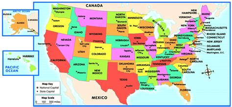 map of united states showing state capitals map of the united states and capitals quiz