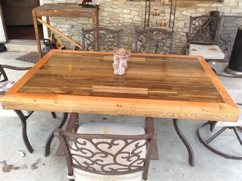 Patio Table Diy Wood Patio Tabletop Made From Reclaimed Deck Wood