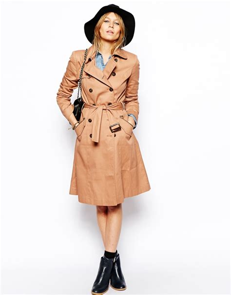 Asos Longline Classic Mac lyst asos classic trench longline in brown