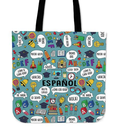 spanish language gifts presents and products hola tote spanish teacher linen tote groove bags