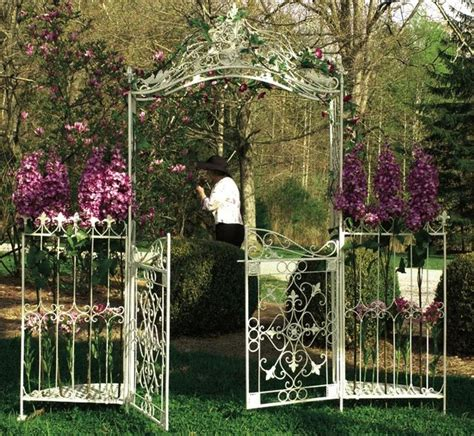 Garden Arbor With Gate White Arbor Gate Traditional Pergolas Arbors And Trellises
