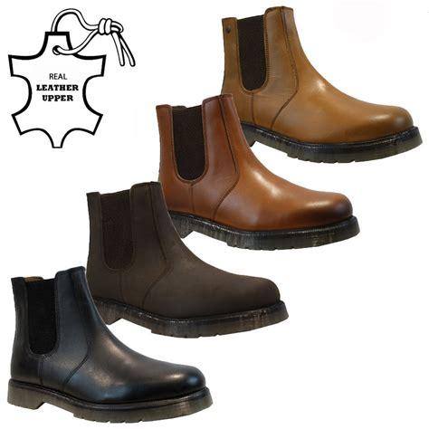 new mens leather slip pull on chelsea dealer gusset ankle