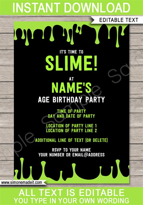 per invite template slime invitations template slime birthday invite