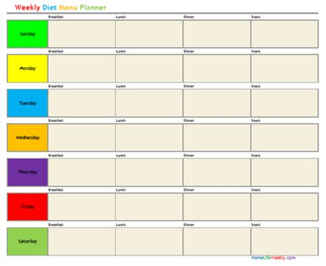 weekly diet template free printable diet calendars calendar template 2016