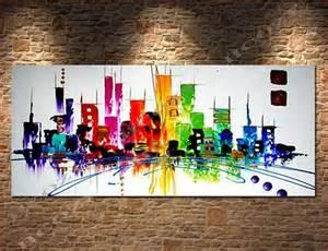 Attractive Tableau Pour Decoration Salon #9: New-york-peint-à-la-main-ville-colorée-moderne-peinture-à-l-huile-abstraite-sur-toile.jpg_640x640.jpg