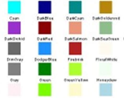pretty color names color chart using reflection