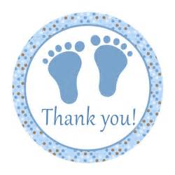 instant blue brown circle baby shower thank you tags