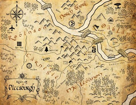 Pittsburgh Lord of the Ring Style Map I created for my