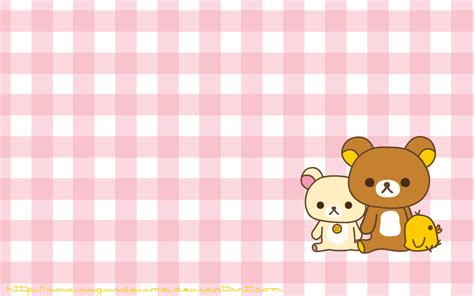 pink plaid rilakkuma cute kawaii resources