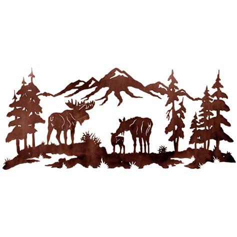 Rustic Kitchen Hardware - moose family metal wall art